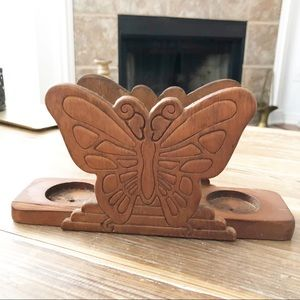 Vintage Carved Wood Butterfly Candle Holder